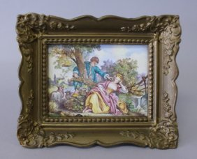 19TH CENTURY FRENCH ENAMEL PLAQUE IN FRAME