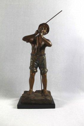German Bronze Figure Of Boy With Rope