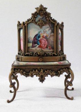 Austrian Enamel And Bronze Vanity Table