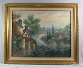 """Antique Painting On Canvas"""" Lake Scene"""" Signed """" Carl"""