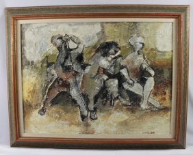 Antique Abstract Painting Of Musicians, Signed W.p.