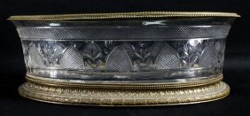 A Continental Gilt Metal Mounted Cut Glass Center Bowl