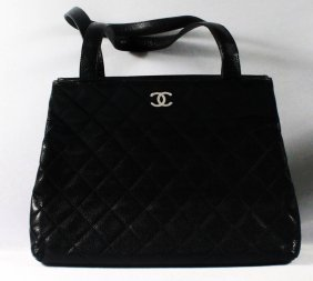 Chanel Quilted Black Grained Leather Handbag
