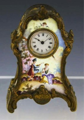 Small Brass And Porcelain Clock