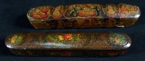 Pair Of Qajar Paper Mache Polychrome Pen Cases