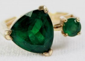 Green Trillian With Small Round Stone Ring