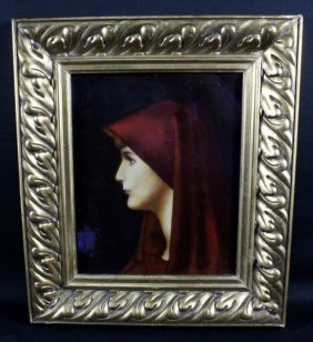 Framed Porcelain Plaque Of Woman