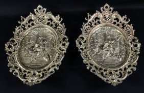 Pair Of Oval Bronze Plaques