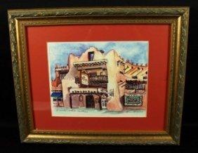 Painting Of La Fonda Santa Fe New Mexico