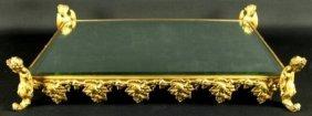 Gilt Bronze Frame Mirrored Vanity Tray
