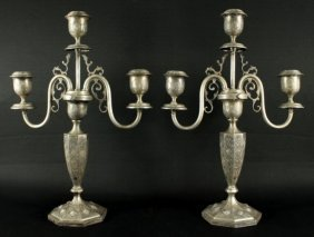 Pair Of Persian Sterling 3 Arm Candelabras