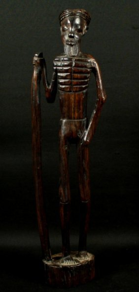 Wooden Carved Figure Of Man With Cane