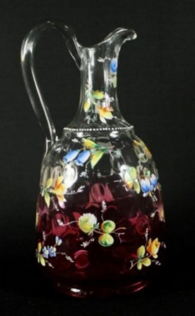 "10 1/2"" Antique Bohemian Moser Enameled Flower Pitcher"