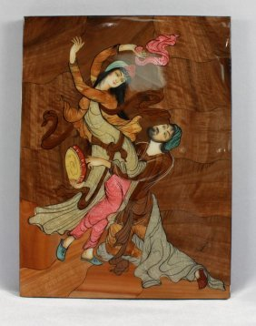 Signed Middle Eastern Wooden Plaque