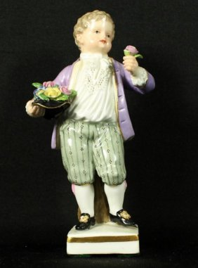 Meissen Figure With Flowers