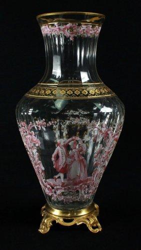 Magnificent Lobmeyr Vase In Bronze Base