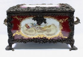 Sevres Painted Porcelain Table Casket With Patinated