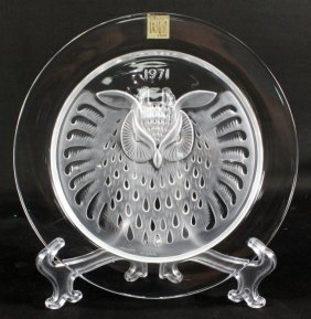 Lalique Plate Of Owl