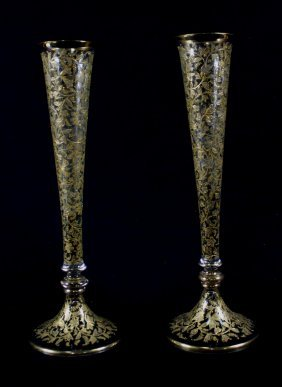 Pair Of Moser Gilt Decorated Glass Vase