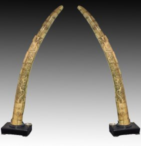 "Pair Of Monumental 75"" Tall Carved & Appliqued Bone"