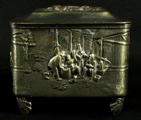 Brass Jewelery Music Box W/ Country Scene