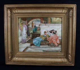 "Large Berlin Porcelain Plaque Signed "" M.s. Hudson"