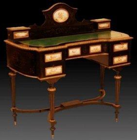 19th C. French Ebonized Leather Top Writing Desk