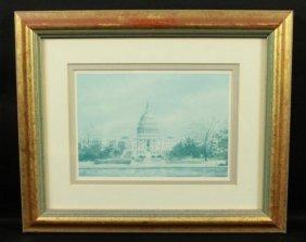 Framed Painting Of Us Capitol Washington Dc Signed