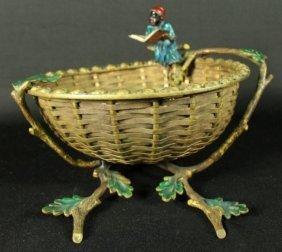Vienna Cold Painted Bronze Figural Basket