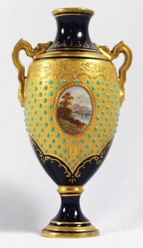 Antique Sevres Style Jewelled Vase, Circa 1910
