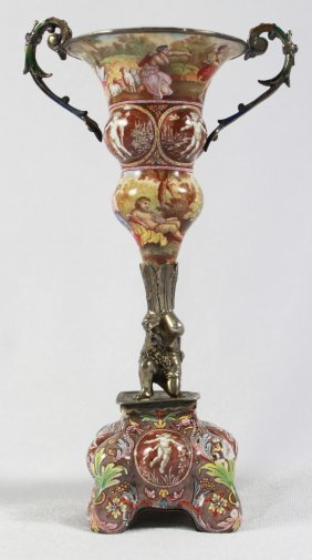 A 19th C Austrian Silver And Enamel Vase, In The Manner