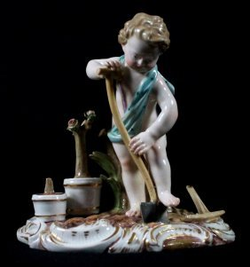 19th C Meissen Figure Of A Gardener