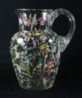 Antique Moser Hand Decorated/painted Pitcher