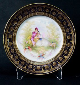 Sevres French Chateau De St. Claud Hand Painted Cople