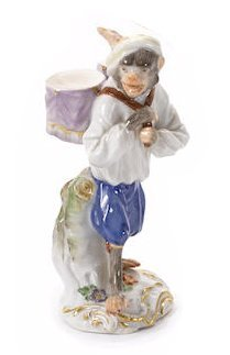 Late 19th Century Meissen Porcelain Monkey Band Figure