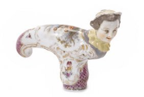 19th C. German Porcelain Cane Handle