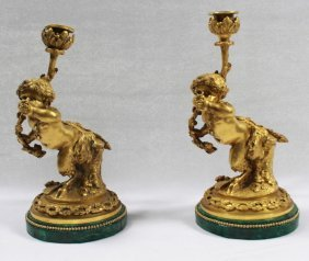 Pair Of 19th C French Gilt Bronze And Malachite Putti