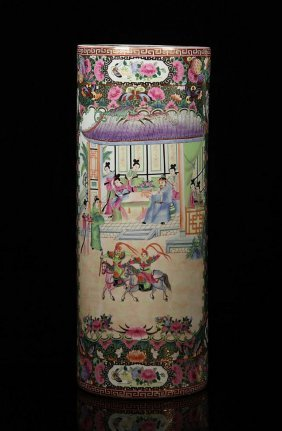 Chinese Porcelain Rose Umbrella Stand, Signed