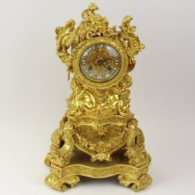 19th Century French Dore Bronze Figural Mantle Clock