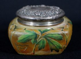 Daum Nancy Cameo And Enameled Covered Box
