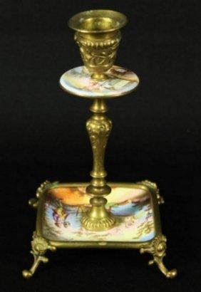 Viennese Enamel Candlestick