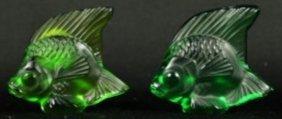 Pair Of Lalique Crystal Fish (green)