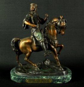 "Arab On Horse"" Bronze Sculpture - Barye"