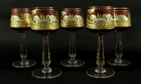 Set Of 5 Moser Cranberry Wine Glasses