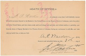 Marshal Oath Of Office Issued By Isaac Parker