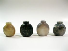 Four Antique Agate Snuff Bottles