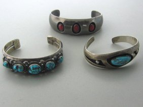 Native American Sterling Gemstone Bracelet Lot Of 3