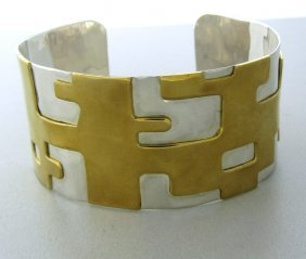 Robert Lee Morris Sterling Brass Cuff Bracelet