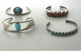 Native American Sterling Gemstone Bracelet Lot  4