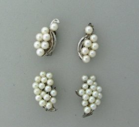 Sterling Cultured Pearl Earrings Lot Of 2